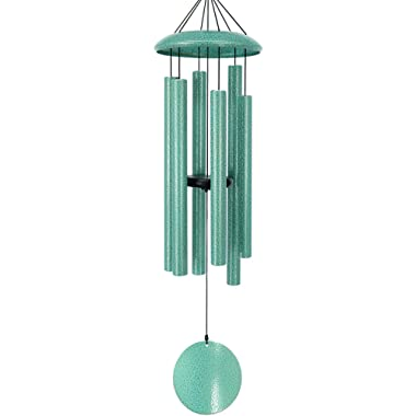 Wind Chimes Outdoor Deep Tone,36 Inch Large Sympathy Wind Chimes Outdoor with 6 Metal Tubes Tuned Relaxing Melody,Beautiful Memorial Windchimes Amazing Grace for Mom Dad Grandma,Patina Green