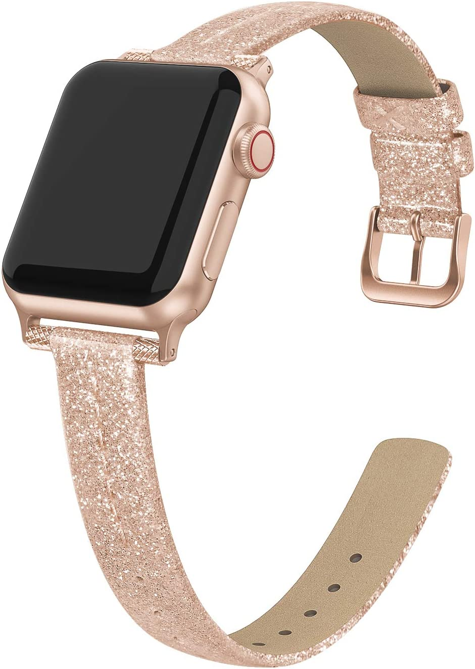 Yutior Leather Bands Compatible for Apple Watch 38mm 40mm, Designer Slim Wrist Band for Apple Watch iWatch Bands 38mm Series SE 6 5 4 3 2 1 Women Bling Rose Gold Leather, Ladies Girls Beaded Thin Strap Bracelet