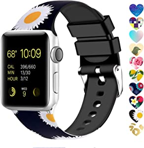 Moretek Colorful band Compatible for Apple Watch 38mm 42mm 40mm 44mm,Soft Silicone Sport Replacement Strap for iWatch Series 5 4 3 2 1, Nike+, Edition Women Men (Flower 6, 42/44mm)