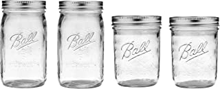 product image for Ball Mason Wide Mouth Jars with Lids and Bands, Set of 4 Jars, Two 32oz Jars + Two 16oz Jars (Bundle Pack)