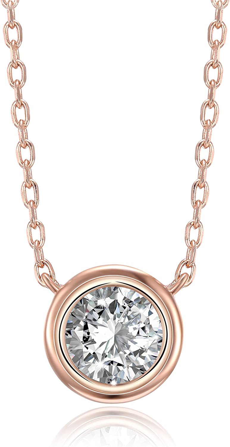 PAVOI 14K Gold Plated 1.00 ct (D Color, VVS Clarity) CZ Simulated Diamond Bezel-Set Solitaire Choker Necklace | Sterling Silver Necklace for Women