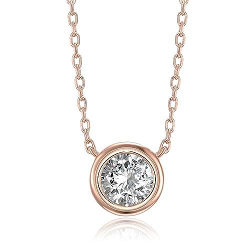 Bling Jewelry Gold Plated Silver CZ Bezel Solitaire Necklace Earrings Set hsnAae4aV