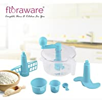 Floraware Plastic Atta Dough Maker Set, 6-Pieces, Blue