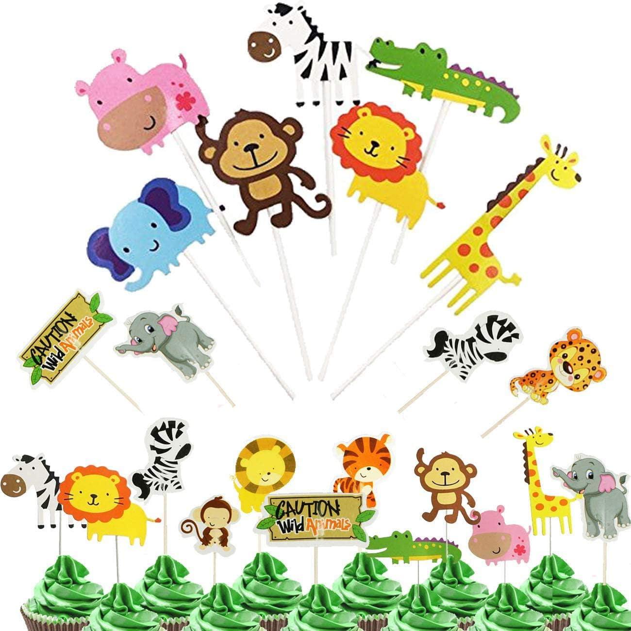 OuMuaMua 38 Jungle Safari Animal Cupcake Toppers Picks - Zoo Animals Cake Decorations Food Picks Animal Theme Party Supplies for Kids Birthday, Baby Shower,Animal Theme Party Decorations