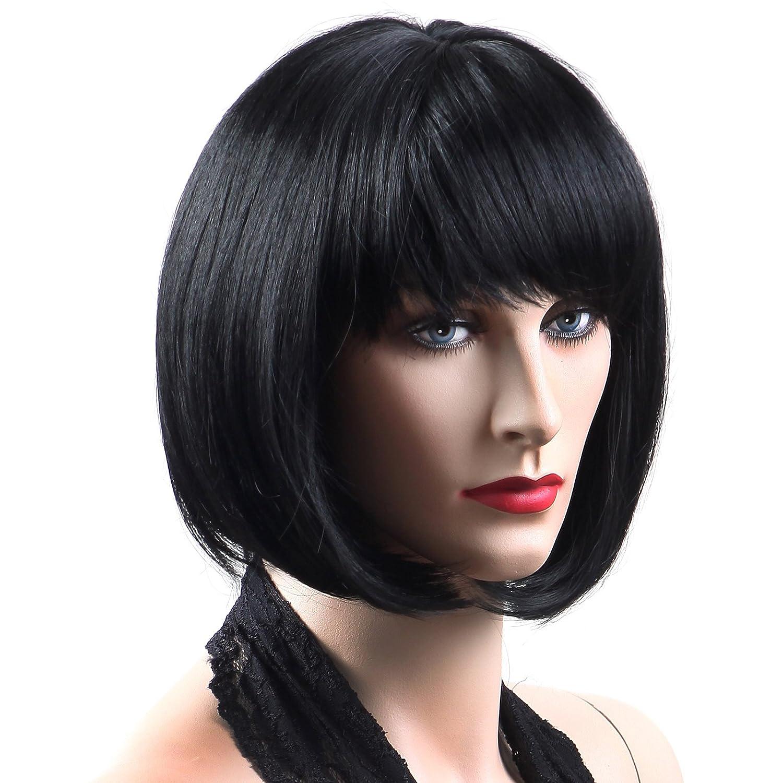 Songmics Peluca corta Bob Cabello sintético femenino De moda para disfraz carnaval Negro WFY091