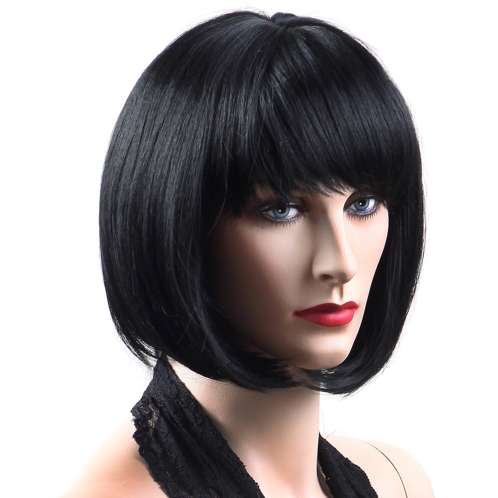 Mannequin Perruque Courte Bob Frange Déguisement Costume Halloween Accessoire 3 Couleurs