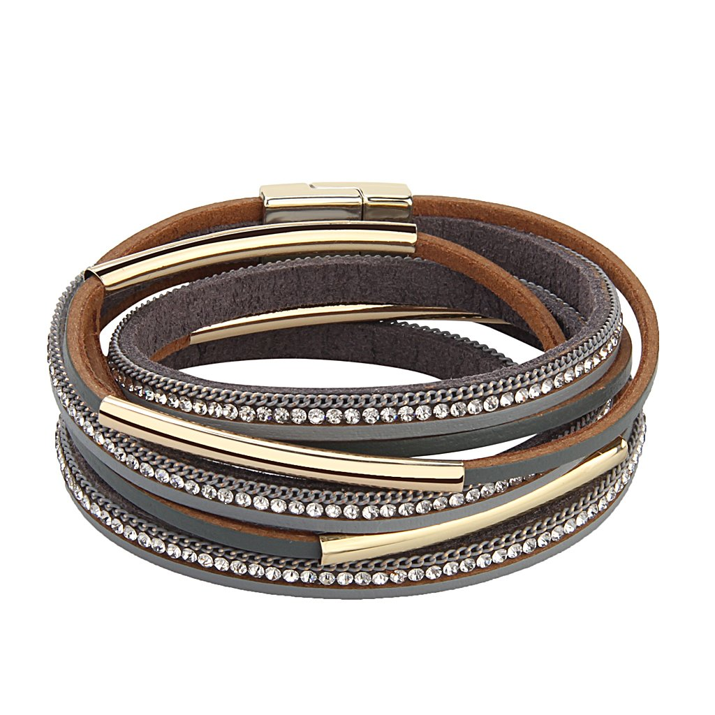 TASBERN Woman Leather Wrap Bracelet - Crystals Metal Tube Cuff Bangle with Magnetic Clasp Jewelry for Women Girls Teens Gift