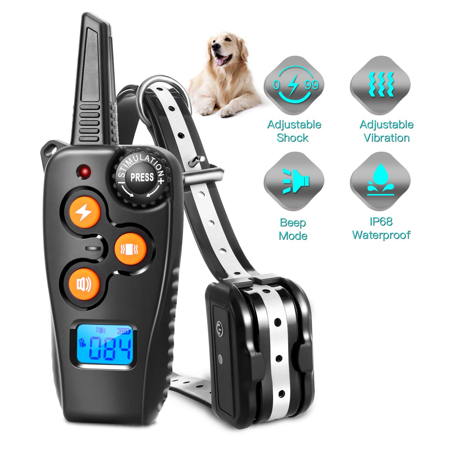 Zapuno Shock Collar for Dogs,1800ft/IP68 Waterproof Reflective Collar Dog Training Collar Shock Collar with Remote Beep/Vibrate/Shock Modes for Small Medium Large Dogs