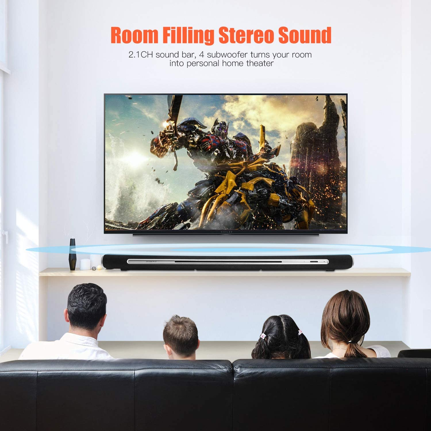 Soundbar For Tv Devices Surround Sound Wireless Bluetooth Speaker For Home Cinema Music Sound Bar With Subwoofer 35 Inch Channel 2 1 60 W 2 Remote Optical 4 Tweeters 2 Subwoofers Touch Usb Mp3 Hifi