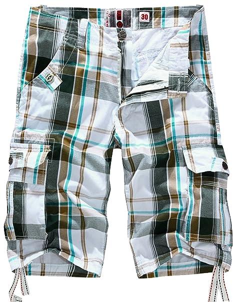 1ee7b9599021d0 CUKKE Uomo Pantaloncini corti Bermuda Cargo short con tasconi laterali con  cintura (50,bianco