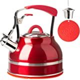 Secura Whistling Tea Kettle, 2.3 Qt Tea Pot, Stainless Steel Hot Water Kettle for Stovetops with Silicone Handle, Tea…