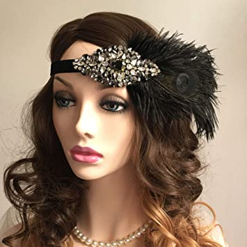 Zivyes 1920s Black Gold Headpiece Hair Accessories Beaded Flapper Great Gatsby Headband