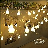 Qedertek Guirnalda Luces 10M 100 LED Blanco Cálido, Cadena de Luces 8 Modos con Control Remoto, Guirnaldas Luminosas…
