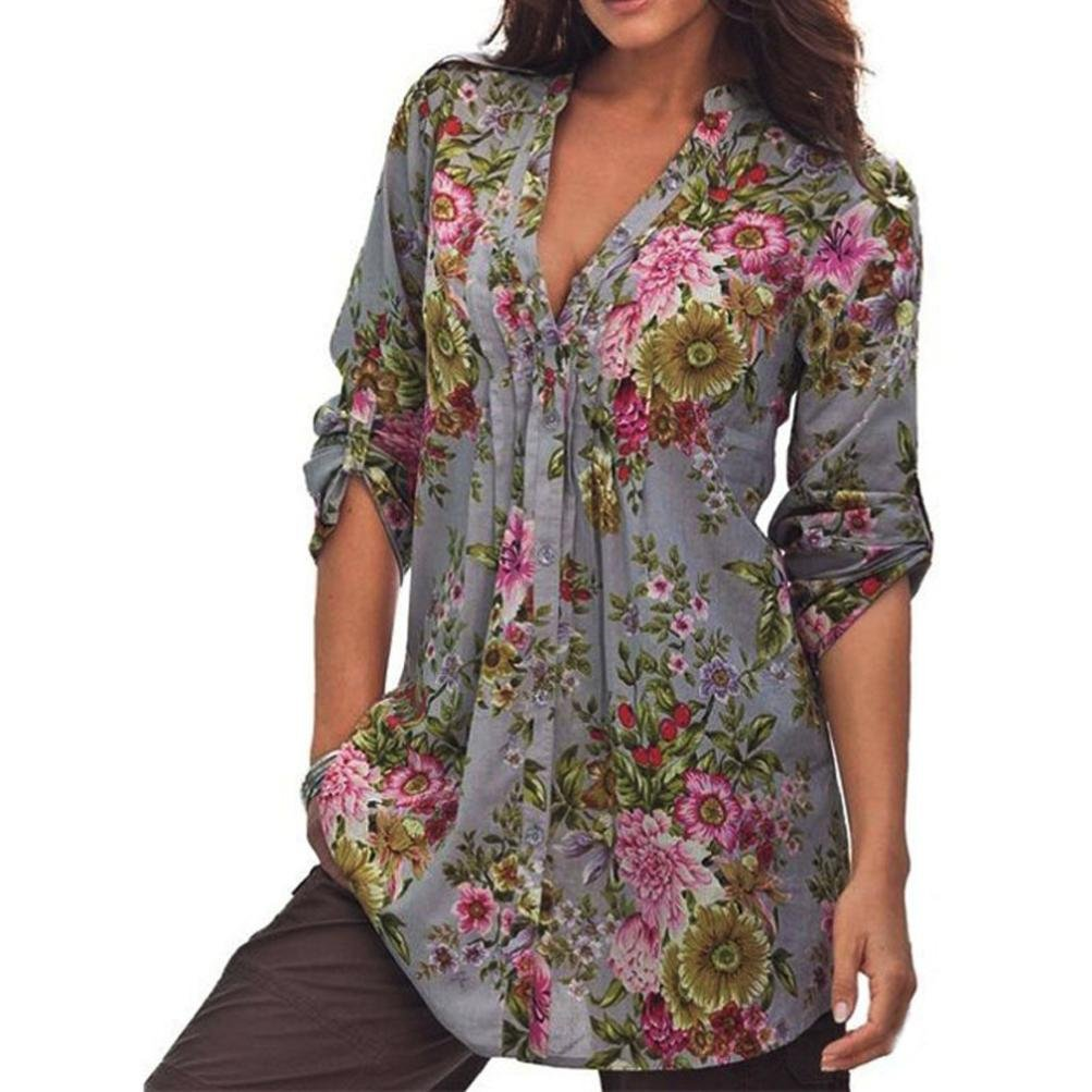 Plus Size Tops Women, Kaifongfu Vintage Floral Print V-neck Tunic Tops Women's Fashion Plus Size Tops Gray)