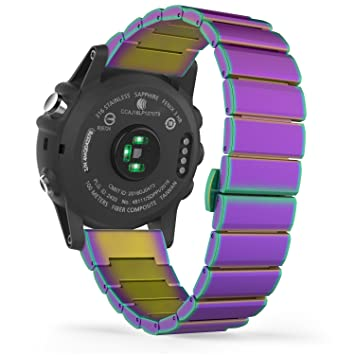 MoKo Garmin Fenix 3 / Fenix 3 HR Correa de Reloj, Pulsera del Metal del Acero Inoxidable Reemplazo del con el Doble Botones Plegable - Multicolor