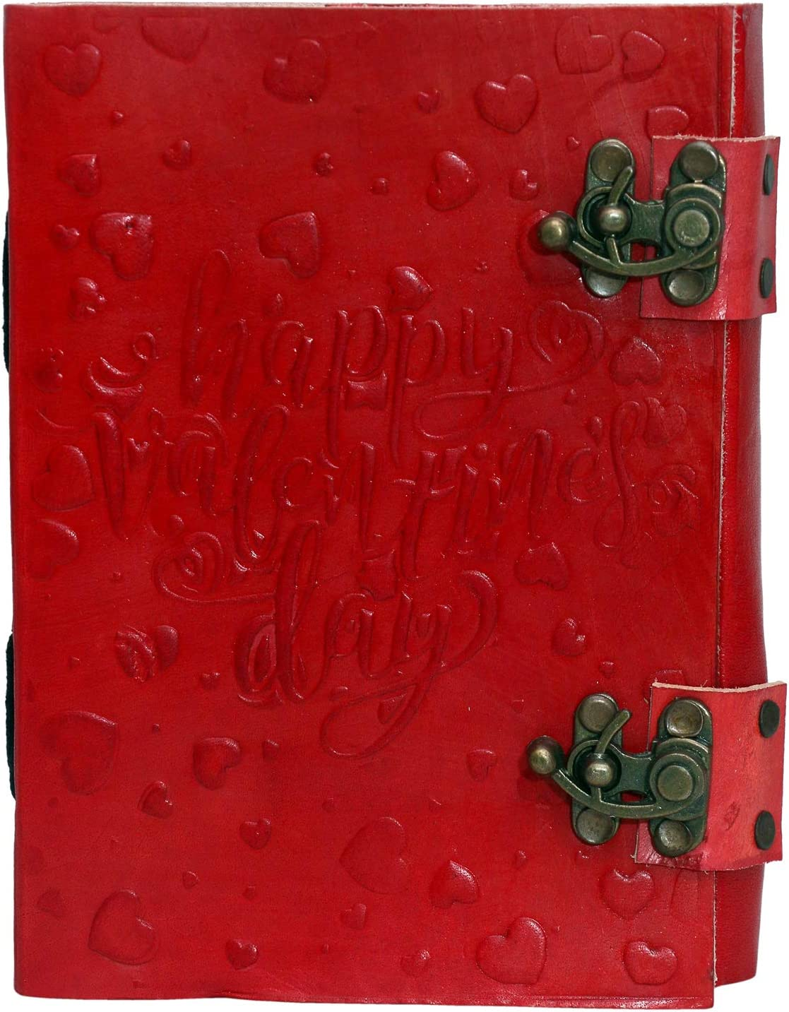 Leather Journal Diary Heart Embossed Double C-Lock Handmade Vintage Antique Notebook Notepad Sketchpad Gift for Men Women 7X5 inches Red Valentine Day