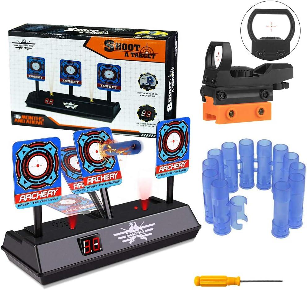 Objetivo Digital electrónico para Nerf, OFUN Juguete Objetivos y accesorios de caza, Pantalla LCD Efecto de Sonido de Luz, Reinicio Automático, Objetivo para Nerf Guns Blaster Elite/Mega/Rival Series