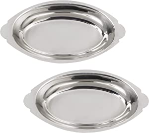 20 oz. (Ounce) Stainless Steel Oval Au Gratin Serving Dish Pan Platter - Set of 2