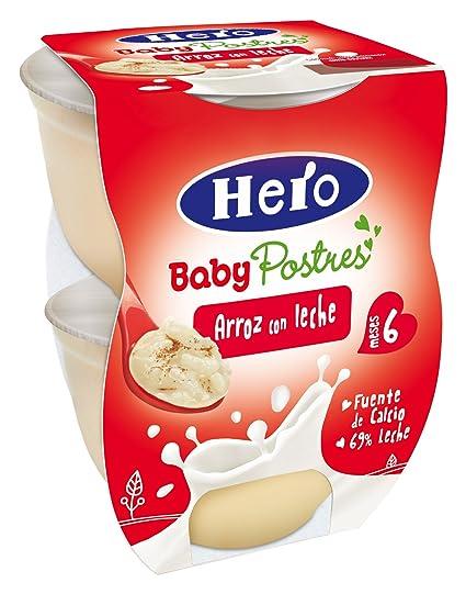 Hero Baby Postre Arroz con Leche, Tarrina de Plástico Paquete de 2 x 130 g