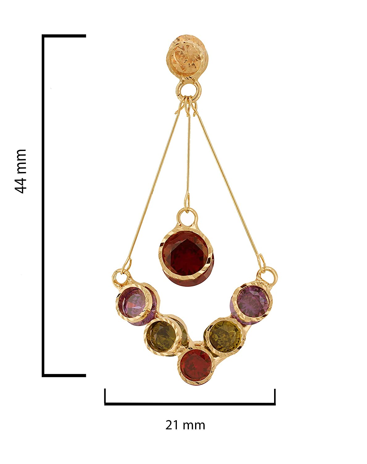 Round Champagne Flat Back Crystal Top 14k Gold Plated Brass Diamond Shape Stud Earring Multi Color Flat Back Crystals Single Dangling Ruby Flat Back Crystal