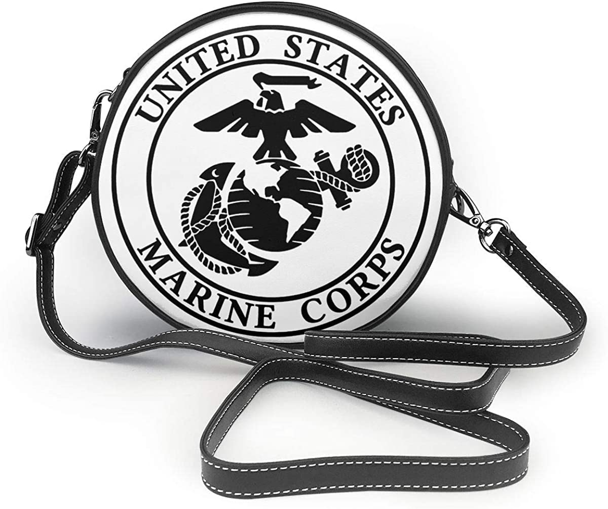 USMC Marine Corps Logo Woman Round Leather Shoulder Bags Tote Beach Bags Wallet