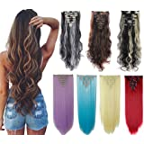 DODOING 8Pcs 18 Clips 17-26 Inch Curly Straight Full Head Clip In On Hair Extensions Women Lady Hairpiece