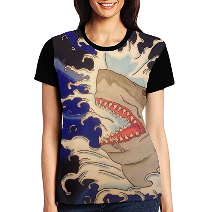 bc39c71d Amazon.com: Angry Shark Womens Summer Shirts Graphic Girls Casual Plus Size  Tees: Clothing