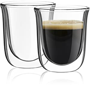 JoyJolt Javaah Double Walled Espresso Glasses, Set of 2 Nespresso Cups 2-Ounce