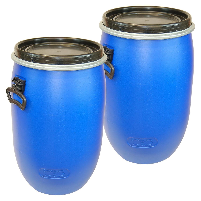 Lot of 2 Kegs, plastic drum with open lid, blue 60 L, Fût, baril poliétylène ouverture totale (2x22095) Fût Wilai GmbH