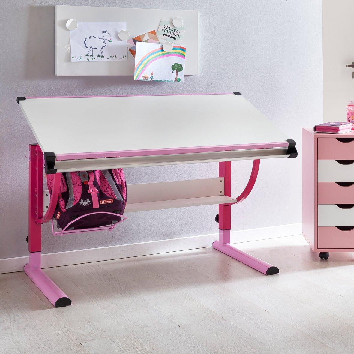Design Kinderschreibtisch Moritz Holz 120 x 60 cm rosa/weiß | Mädchen Schülerschreibtisch neigungs-verstellbar | Schreibtisch Kinder höhenverstellbar KADIMA DESIGN