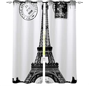Home Decor Window Curtains, French Paris Eiffel Tower City of Love Black White Monochrome - 2 Panel Window Treatment Set with Grommet Window Drapes Covering for Kitchen Cafe Living Room 55