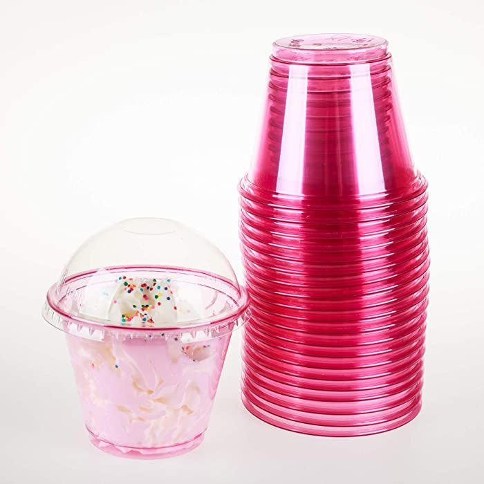 GOLDEN APPLE, 9oz-25sets Pink Red Plastic Cups with Clear Dome lids No Hole