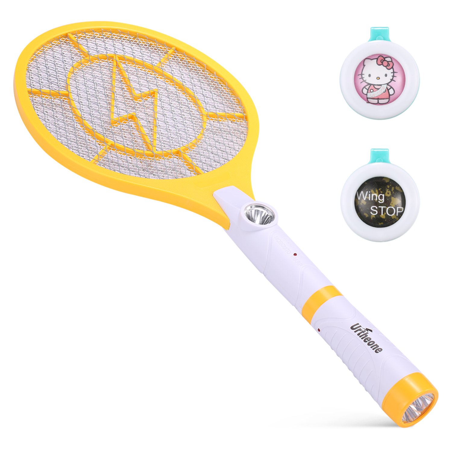 Urtheone Bug Zapper, Rechargeable Electric Fly Swatter Handheld Mosquito Insect Killer, 3800 Volt Mosquito Zapper Racket with Detachable Flash Light, Suitable for Indoor, Travel, Campings and Outdoor by Urtheone