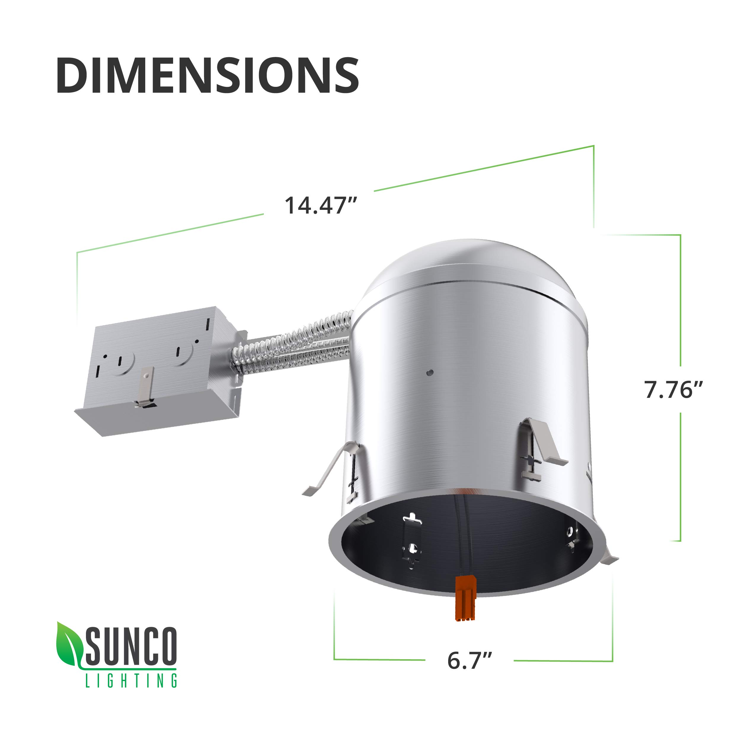Sunco Lighting 6 Pack 6 Inch Remodel Housing, Air Tight IC Rated Aluminum Can, 120-277V, TP24 Connector Included for Easy Install - UL & Title 24 Compliant by Sunco Lighting (Image #7)