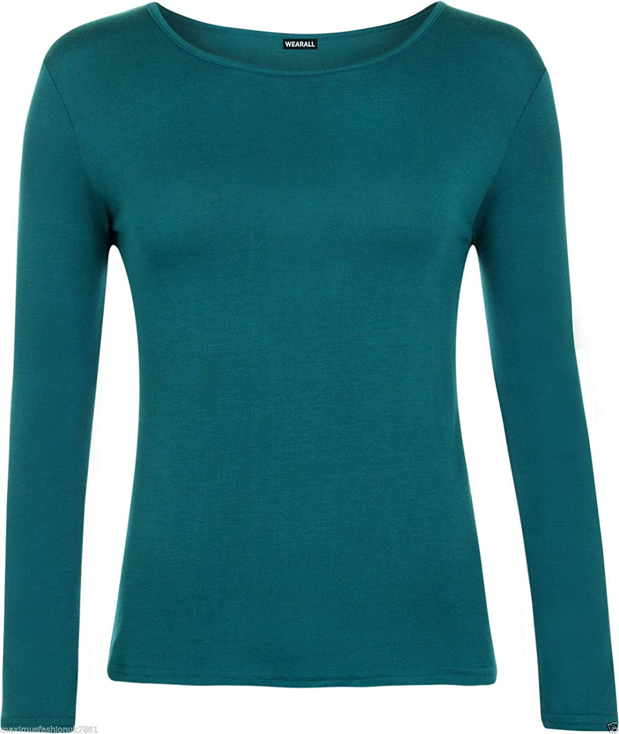 Children Long Sleeve Plain Top Shirt Kids Scoop Neck Stretchy Party Wear Tee Top
