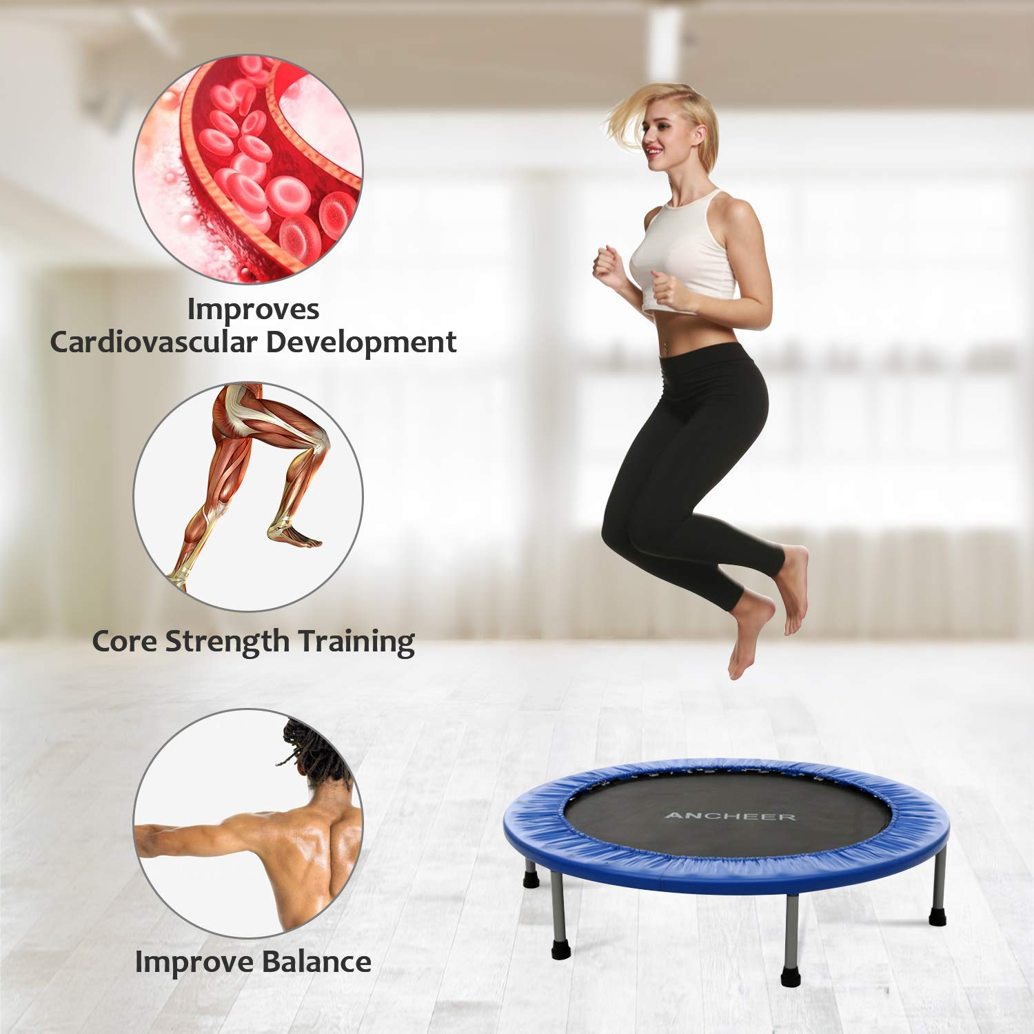 ANCHEER Max Load 220lbs Rebounder Trampoline with Safety Pad for Indoor Garden Workout Cardio Training (2 Sizes: 38 inch/40 inch, Two Modes: Folding/Not Folding) (Renewed) by ANCHEER (Image #6)