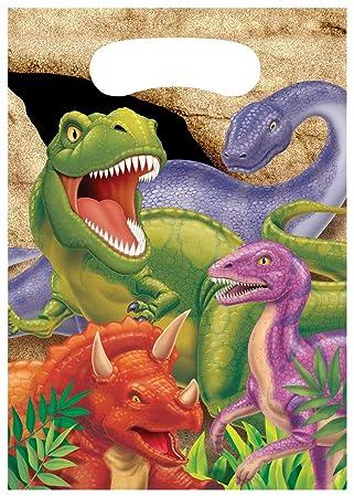 8 bolsas para regalo cumpleaños con dinosaurios Talla única ...