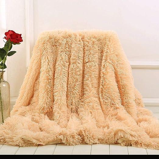 Blanket Soft Rainbow Plush Super Bedding Sofa Cover Furry Fuzzy Fur Warm Throw