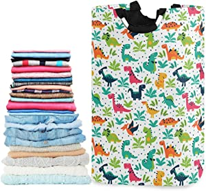 visesunny Collapsible Laundry Basket Funny Dinosaur Animal Large Laundry Hamper with Handle Toys and Clothing Organization for Bathroom, Bedroom, Home, Dorm, Travel