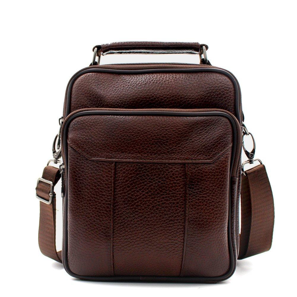 Mynos Men Crossbody Bag Genuine Leather Retro Purse and Handbags Business Shoulder Bag Man Messenger Bag (Vertical)