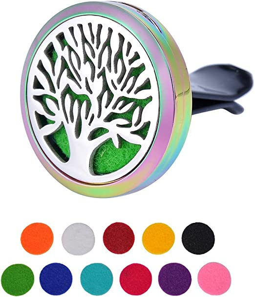 Housweety acero inoxidable 316 Árbol de Vida Negro difusor redondo Perfume aromatherapie Wyro – Ambientador ...