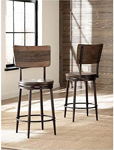 Hillsdale Furniture Swivel Barstool in Distressed Walnut and Brown