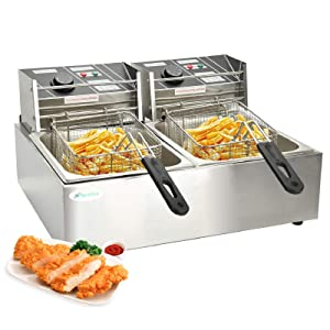 Nurxiovo 16 Liter Electric Commercial Deep Fryer with Double Basket Large Countertop Stainless Steel 2 Baskets Deep Fryers French Fries Fish Turkey Restaurant Home Kitchen 2 Tank 3600W