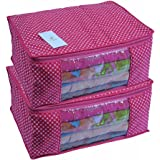 HomeStrap 2 Piece Cotton Quilted Large Saree Cover, Pink