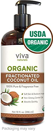 Organic Fractionated Coconut Oil, 10 oz - Ultra Hydrating 100% Pure Oil for Hair Styling and Skin, Hexane-Free