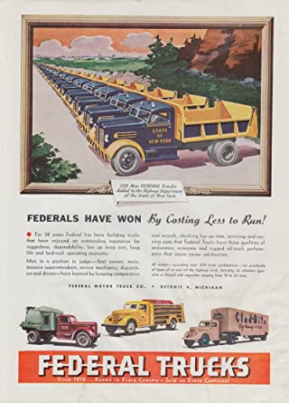 NY State Dept of Highways Federal Dump Truck ad 1949 at