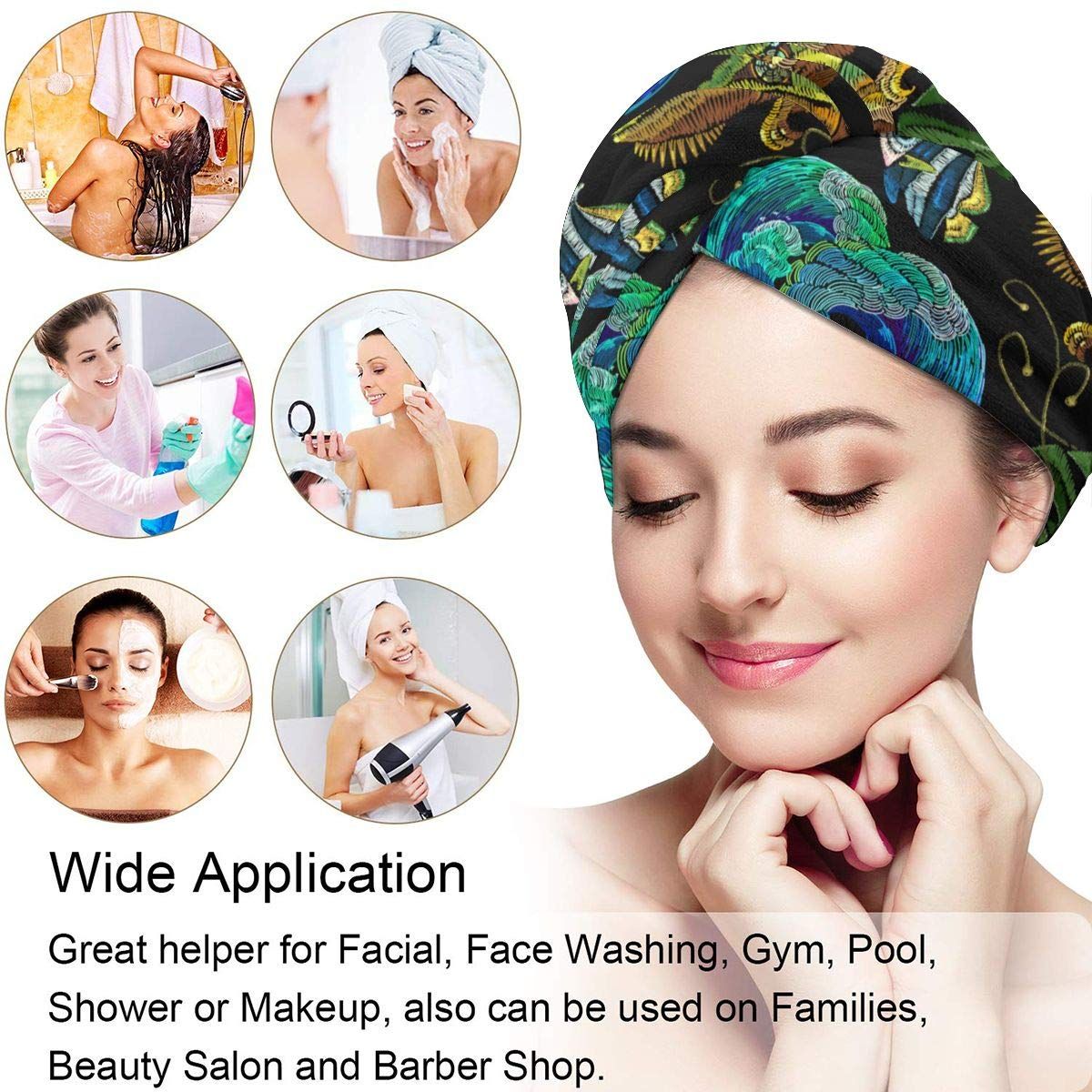 Quick Magic Dryer Super Absorbent Dry Hair Hat Embroidery Color Chameleons Sea Life Animals Hair Towel Wrap Turban Microfiber Quick Dry Hair Turban Wrap Wrapped Bath Cap