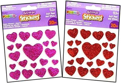 CREATOLOGY VALENTINE BLACK /& RED GEMS GLITTER FOAM HEARTS SCRAP BOOK STICKERS