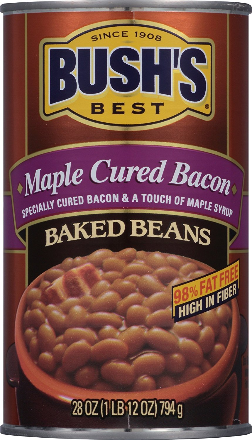 BUSH'S BEST Maple and Cured Bacon Baked Beans, 28 Ounce Can (Pack of 12), Canned Beans, Baked Beans Canned, Source of Plant Based Protein and Fiber, Low Fat, Gluten Free