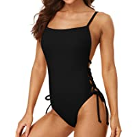 Sociala Womens Ribbed Tie Side One Piece Bathing Suits Padded Open Back Monokinis Swimsuits